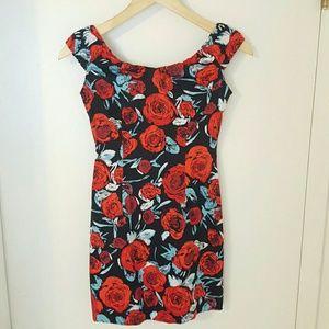 sin Dresses - Floral Off the Shoulder Mini Dress